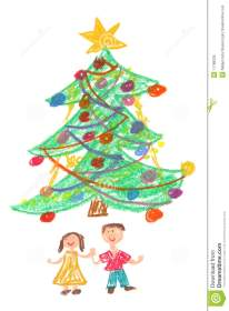 christmas tree drawing children childs royalty