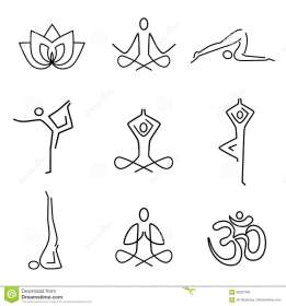 yoga line icons symbols background vector preview breathing