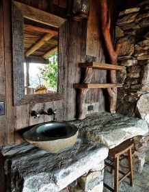 rustic bathroom bathrooms decor showers awesome designs outdoor cabin wood natural sink grid living shower stone interior theownerbuildernetwork outside imgur