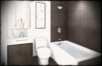 modern bathroom idea with white bathtup also toilet and white sink and silver faucet and soap holder also black tiles flooring