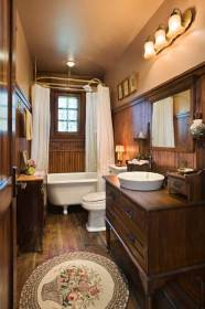 rustic bathroom bathrooms unique master clawfoot tub cabin designs freestanding timber fashioned decor timberhomeliving interior paneling homes tubs seamlessly furnishings