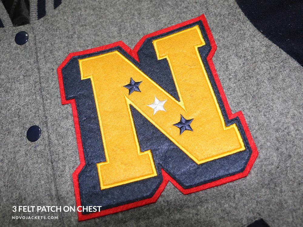 Triple Felt Patch Letter Example Custom Letterman jacket