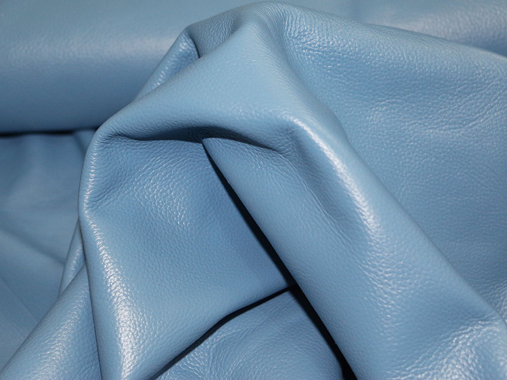 Sky Blue Cowhide Leather