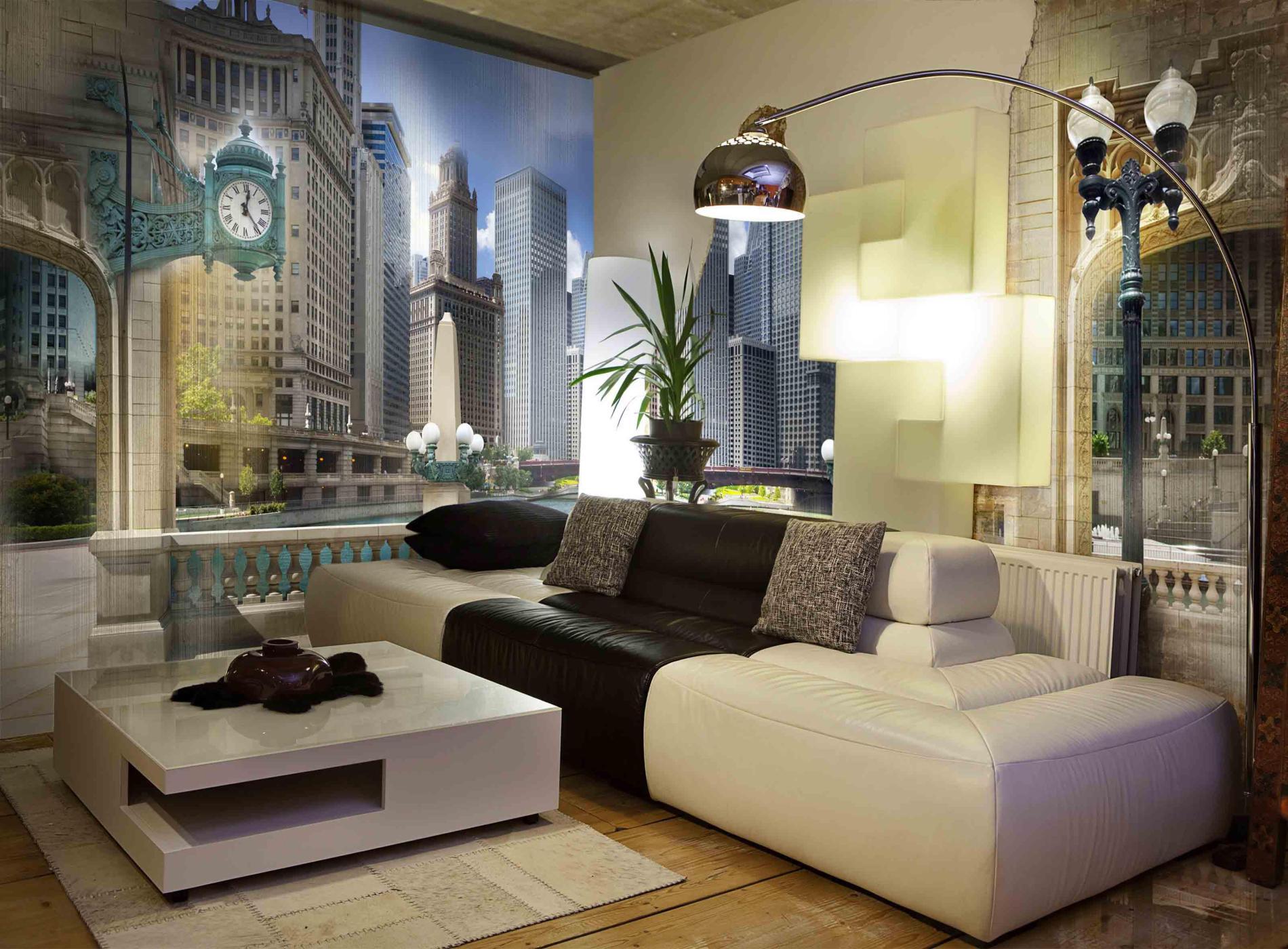коллажи фотообои в современной гостиной для молодой пары лмз