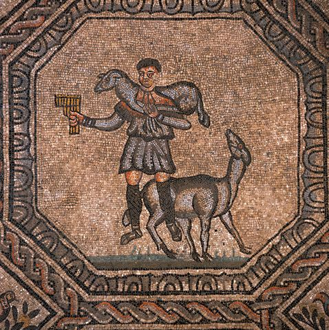 Jesus Christ as the Good Shepherd from an Early Christian Floor Mosaic at the Basilica of Aquileia