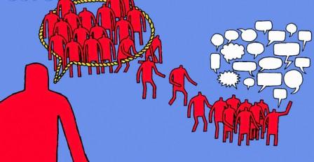 Crowd escaping from speech bubble, flat tone (Tim Ellis)