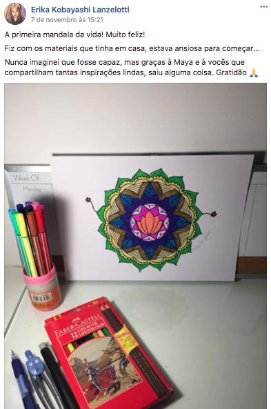 Aluna do curso online Oficina de Mandalas Maya Jurisic