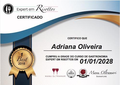 Certificado do Curso online Expert Em Risotos