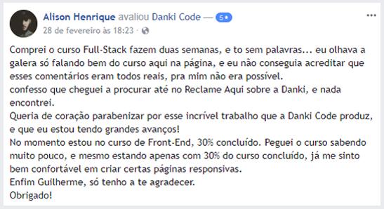 depoimento curso full stack danki code é bom