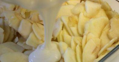Яблочный пирог, со сметанной заливкой