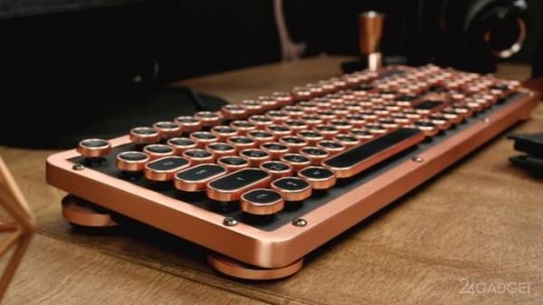 Винтажная клавиатура с подсветкой и натуральной кожей