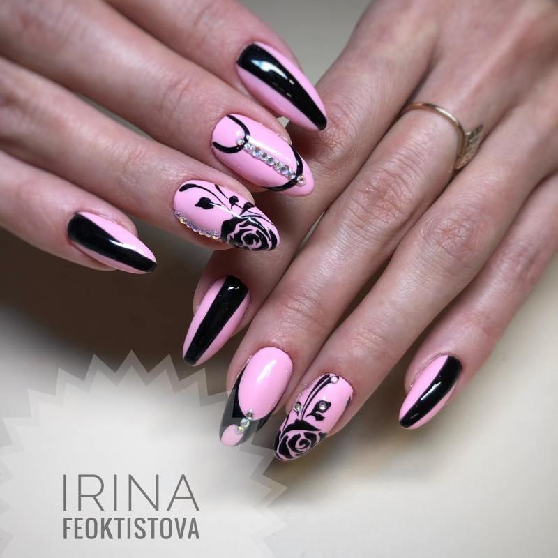 черно-розовый маникюр 2019 фото_23
