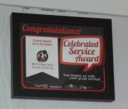 Celebration Cinema 2014 Award for outstanding community service is proudly displayed in the lobby.