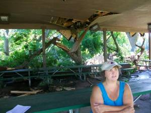 "While helping a family member in the neighborhood, Eve Goff stopped by the park to take in the damage. ""We've had many family reunions under this pavilion,"" she recalled. ""Up until now, many of these trees outlived generations of families here."""