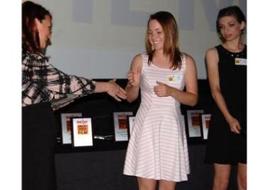 Byron Center High School senior Aspen Comar and homeschooled student Ellen LeRoy receive their awards at last year's Meijer Great Choices Film Festival