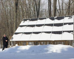 Even when solar panels are snow-covered, they continue to capture energy