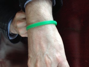 Rick is never without his Organ Donor bracelet.