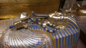 The second coffin.  Some researchers believe this more resembles the regent instead of Tut, but the reproduction in the exhibit faithfully represents the exquisite beauty of the ancient craftsmen.