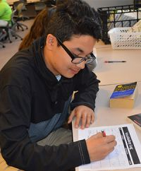 Lee High School freshman Paul Villareal studies vocabulary words.