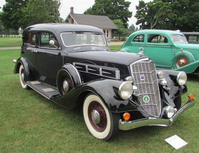 This 1934 Pierce Arrow is a five person sedan with an eight-cylinder engine.
