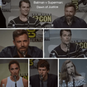 First two rows: Ben Affleck and Henry Cavill. Bottom left: Gal Gadot, bottom center: Jesse Eisenberg, and bottom right: Amy Adams.