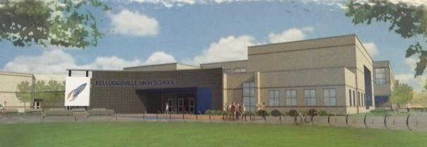 A rendering of the Kelloggsville High School's new front