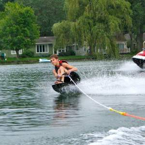 Garrett Bazany in Kentwood's adapted water ski clinic.