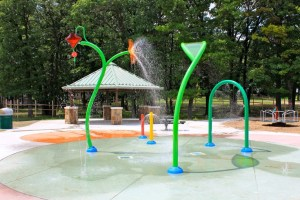 The splash pad at Oriole Park.