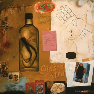 renee stout ginseng extract 2005 acrylic oil stick and mixed media on wood 24x24 inches