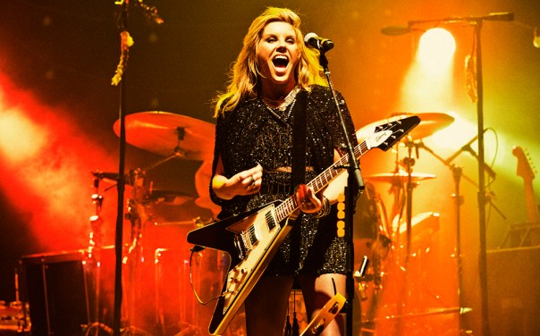 Grace Potter, with her Gibson Signature Flying V electric guitar, kept the crowd on its feet Wednesday at Meijer Gardens. (Supplied photo)