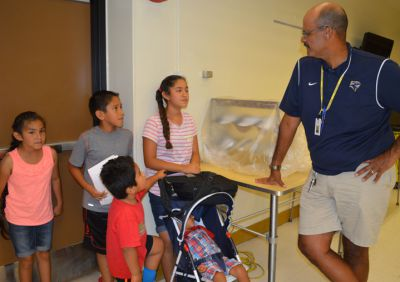 New middle school principal Aaron Berlin meets future students