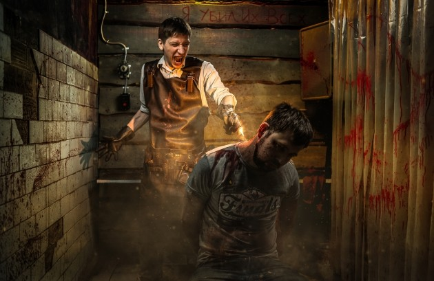 "Advertising for Claustrophobia, ""Hostel. Basement of Torture,"" escape room"