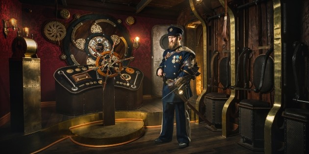 "Advertising for Claustrophobia, ""Steampunk: The Airship,"" action escape room"
