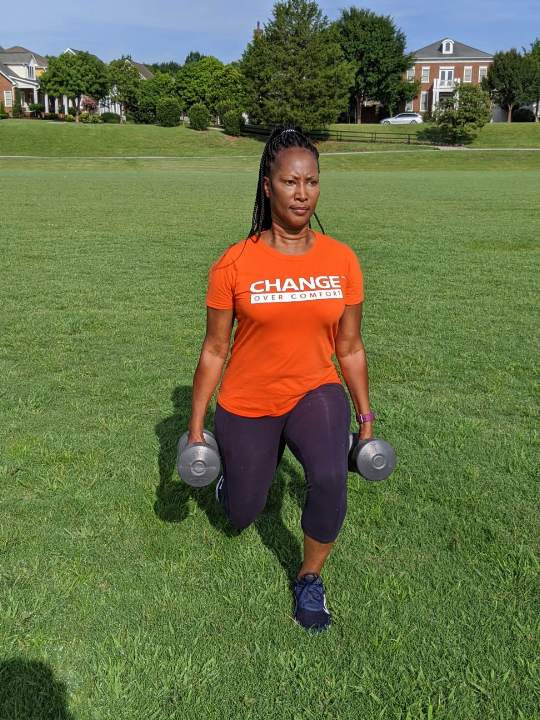 work out orange change over comfort tee