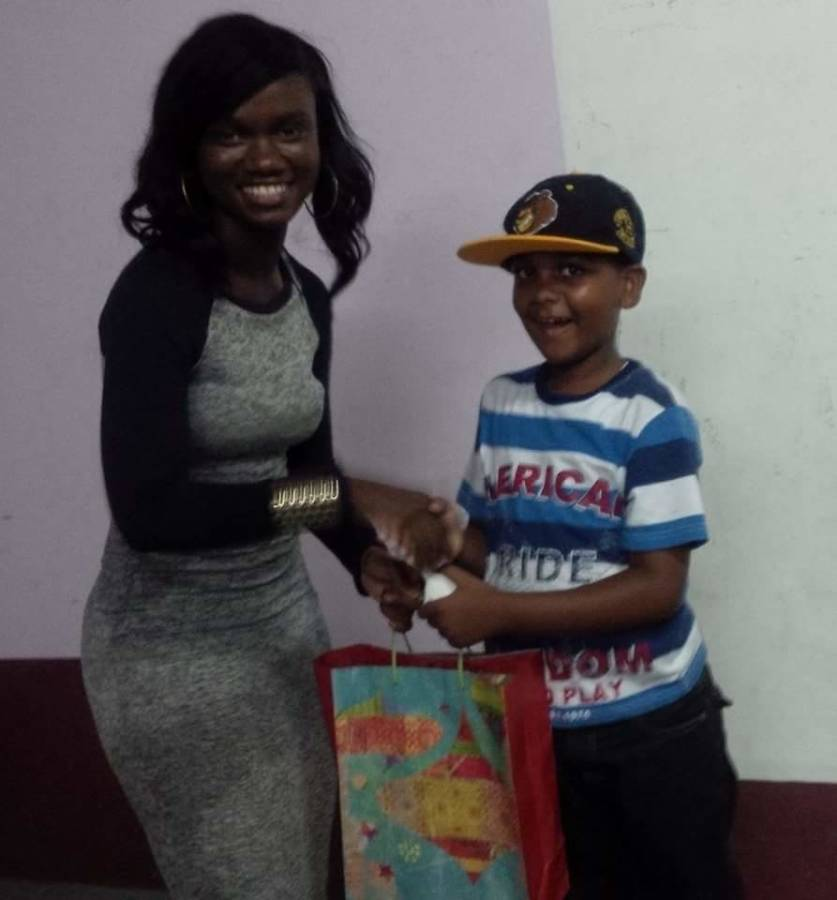 Ebony Telesford at Toy Giving Ceremony in Clozier