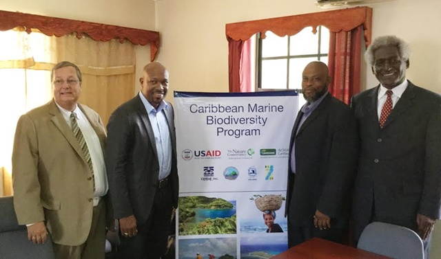 L–R: Christopher Cushing, USAID Director; Saboto Caesar, St Vincent and the Grenadines' Minister of Agriculture, Industry, Forestry, Fisheries, and Rural Transformation; Roland Bhola, Grenada's Minister for Agriculture, Lands, Forestry and Fisheries, and the Environment; and US Ambassador to Barbados, the Eastern Caribbean, and the OECS, Larry Palmer.