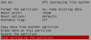 Set up partition