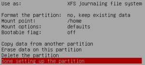 Set up partition