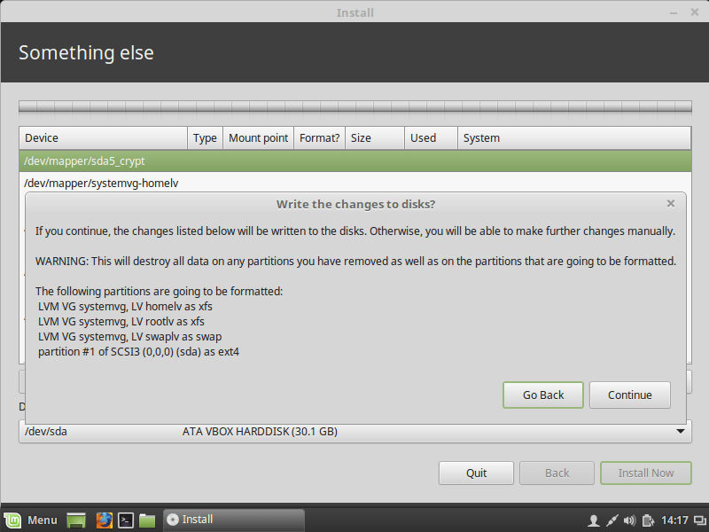 Installing Linux Mint/Ubuntu desktop edition with full-disk
