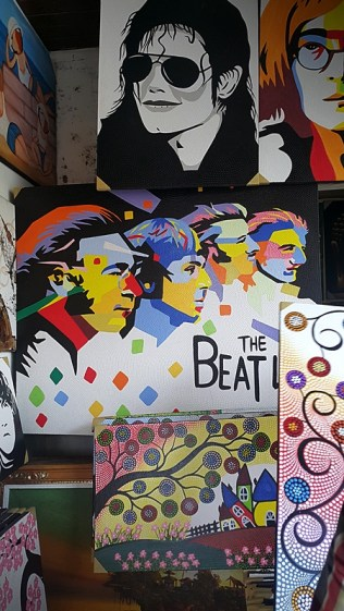 I bought this Beatles painting for 220,000 rupiah or 750 php! hahaha haggling skills baby!