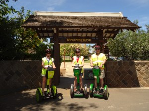 The three of us on our Segways in front of the Jodo Mission