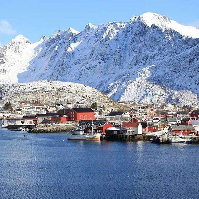 Shiny view on Reine a beautiful town in Lofoten Norwayhellip
