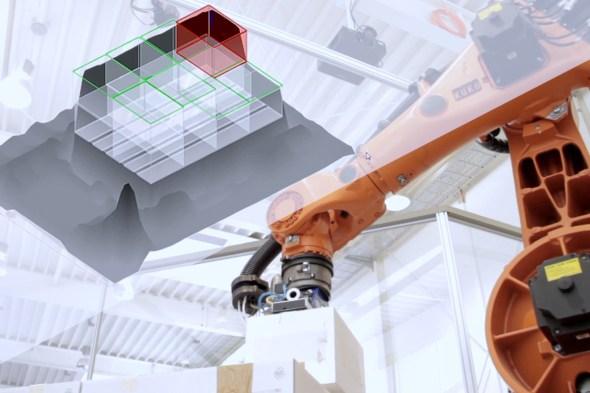 Kommissionierroboter Die optimale Anordnung der Pakete wird berechnet und der Kommissionierroboter stellt alles in der richtigen Reihenfolge auf die Palette.