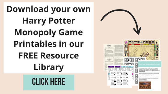 picture regarding Monopoly Cards Printable titled Do-it-yourself Harry Potter Monopoly Recreation with Free of charge Printables