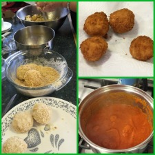 Arancini - risotto, mozzarella, egg wash and bread crumbs with sauce.