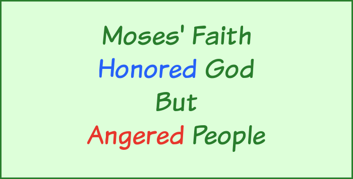 Moses' faith honored God but angered people.