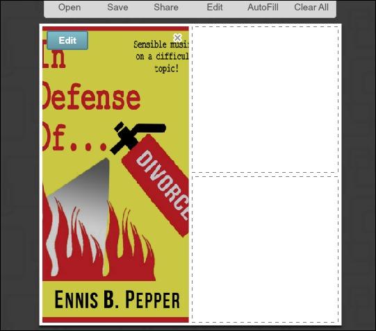 PicMonkey collage edit image button.