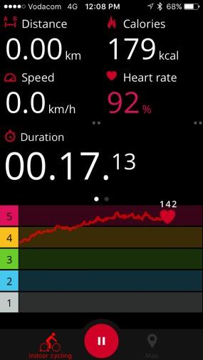 Polar Beat display of Wattbike data.