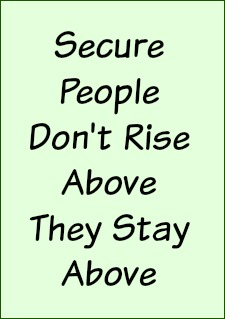 Secure people don't rise above, they stay above.