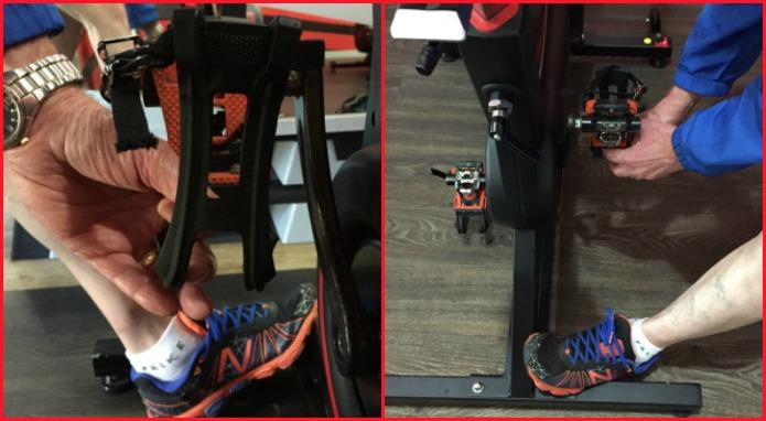 Brace foot against frame of Wattbike.